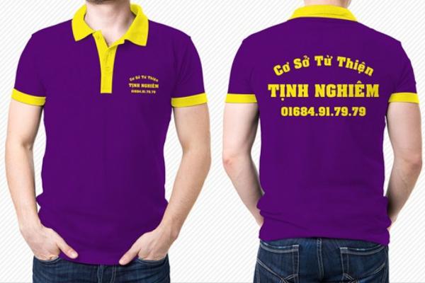 Áo thun đồng phục vải cá sấu màu tím phối vàng